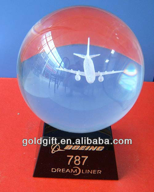 3d engraving airplane crystal ball