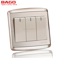 3 gang 1 way point switch with LED stainless steel panel