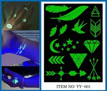 Custom New 2015 hot sale Fake glow in dark Temporary new design Tattoo