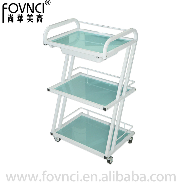transparent colour galss beauty/nail salon working trolley R-213A-1