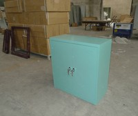 Small 2 Hinged Doors Stainless Steel Filing Cabinet with 1 Partition Inside