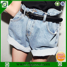 Summer new loose fit design denim girls and women cheap jeans hemming shorts high waist shorts