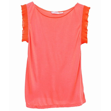Ladies korean style fashion sleeveless blouse top with frill sleeve