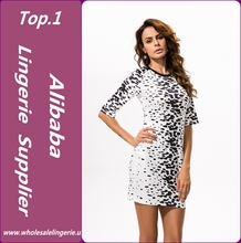 2017 Factory Price Club Hot Girl Body Shape black and white Panther Point Simple Short Dress half sleeves