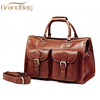 new fashion genuine leather travel duffle bag men weekend luggage bag