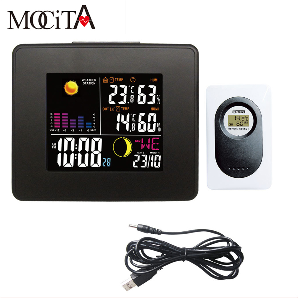Wireless Weather Station Thermometer Hygrometer Wall Clock Thermometer Hygrometer Digital Alarm Clock LED Back Light