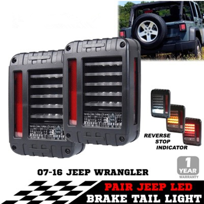 2 X Smoked LED Reverse Rear Brake Tail Lights Lamps Led taillights for Jeeep Wrangler JK 07-16
