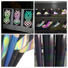 high light visible reflective rainbow colors heat transfer film for shoes