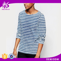 2016 Fashion Hot Sale Guangzhou High Quality 160g Organic Cotton Stripe Long Sleeve O-Neck Casual T Shirt