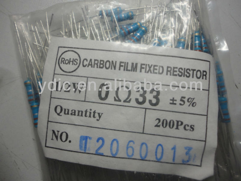 CARBON FILM FIXED RESISTOR 1/2W 0OHM33