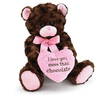 "BROWN BEAR HOLDING ""I LOVE YOU valentines day plush moose"