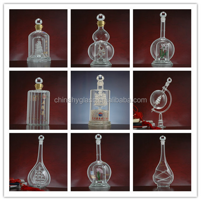glass decanters for liquor handmade borosilicate glass wine botte good quality different size empty wine bottle for sale