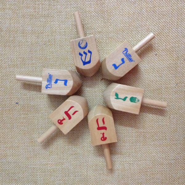 2.5inch Custom printed logo Dreidel,Wooden Spins toy for kids,toy spinning top