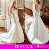 High Quality See Through Back Lace Train Backless Mermaid Designer Wedding Dresses