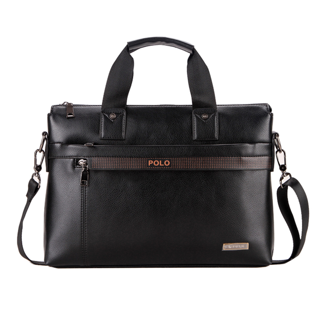 Men's PU leather Briefcase Fashion Handbags for Man Sacoche Homme Marque Male Bag for A4 Documents Black XB114-B