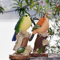 Creative gifts decoration the rural idyll lovely resin birds in the tree stumps