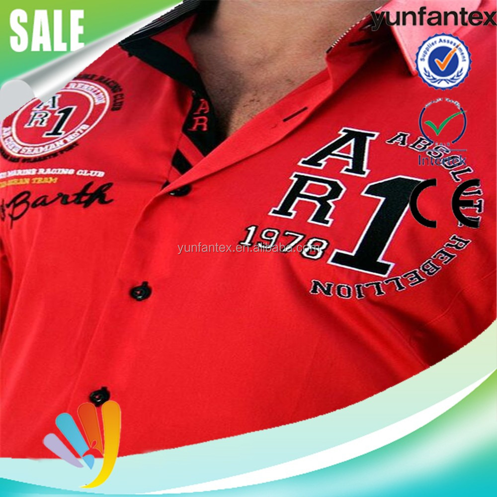2016 new fashion embroidered red shirt for men