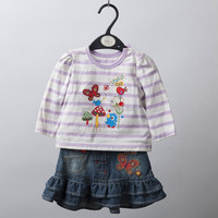 Baby Girls Clothing Sets/Denim skirt and T shirt sets with butterfly applique and embroidery