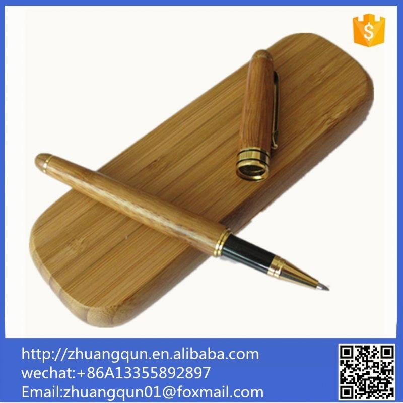Fountain Wood Packaging Bamboo Display Case Holder New Design Decorative Office Use Pen Gift Box