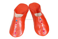 Moroccan handmade orange genuine leather slipper for women