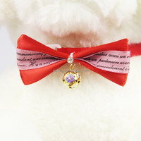 Factory Produce Dog Bow Tie with Shine Stone and Color Bell OEM Accepted V1282