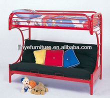 "Twin Full Size Futon Metal Bunk Bed With ""C"" Style In Red Finish"