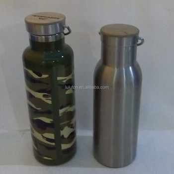 Stainless Steel vacuum Water Bottle bamboo lid stainless steel bottle