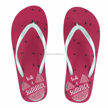 Ladies' eva watermelon print beach flip flops