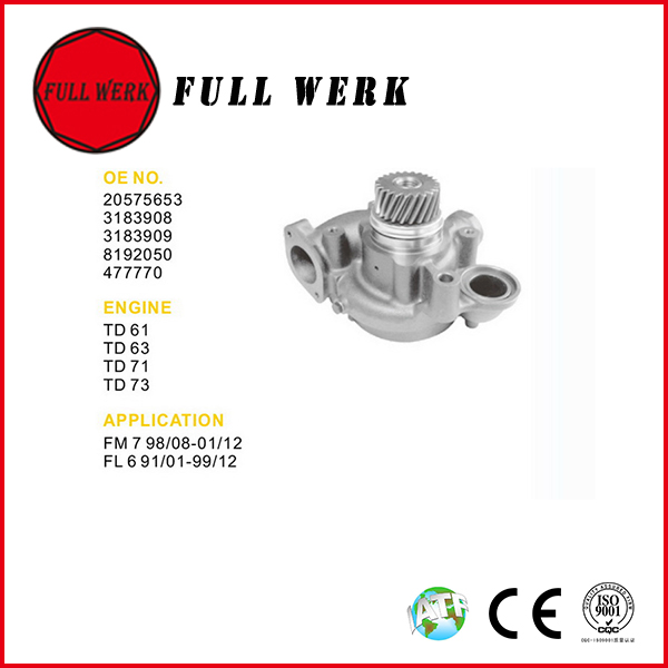 FULL WERK 20575653 3183908 3183909 8192050 477770 electric water supply pump motor price for VOLVO truck parts