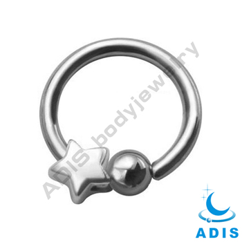 Star Moon Steel Ball Closure Piercings Ring Jewelry