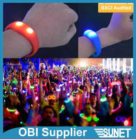 SUNJET corporate gift assorted colors sound activated led glow bracelet