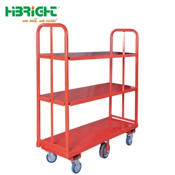 Heavy duty six wheel warehouse logistic turnover double handle platform warehouse trolley