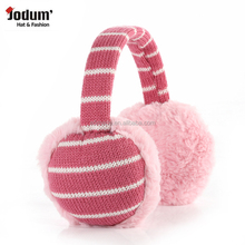 rose & white strip knitting plush burger earmuff