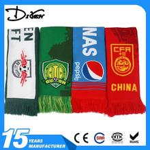 promotional good quality double layers Jacuard acrylic football knit scarf with tassel