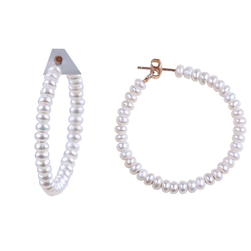 2019  freswhater pearl gold hoop earring