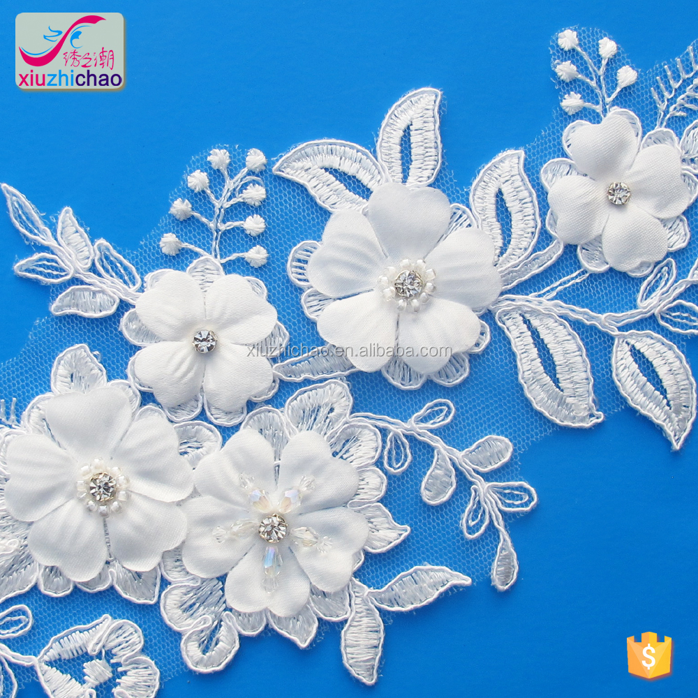 New fashion design White Flower Bridal Lace Applique with 3D flowers beads and diamond stone for cloth wedding dress decoration
