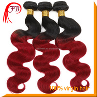 High quality human remy hair extension 1B/99J body wave red Mongolian ombre hair weaves
