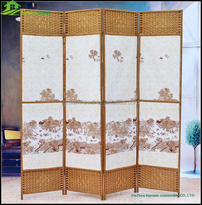 Byobu Folding Bamboo Screen Decorative Cared Wood Folding