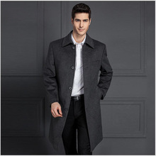 latest design polo neck men's long wool coat
