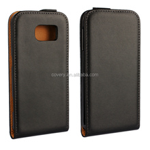 Classic Black leather back case for Samsung S6 edge