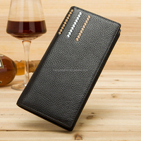Top-grain Litchi pattern cowhide long wallet men men, Men wallet wholesale
