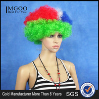Women Football Cup National Flag Fans Wig Fanatic Halloween Colorful Party Wig Afro Kinky Curly Wigs Synthetic