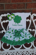 Girls St. Patrick's Day Complete 3 pieces Outfit Baby Girls Shamrock Ruffle Skirt and Applique Top with Hair Bow Shamrock outfi