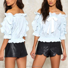 ANLY new design summer fashion women clothing off shoulder half sleeve ruffle 100%cotton tops