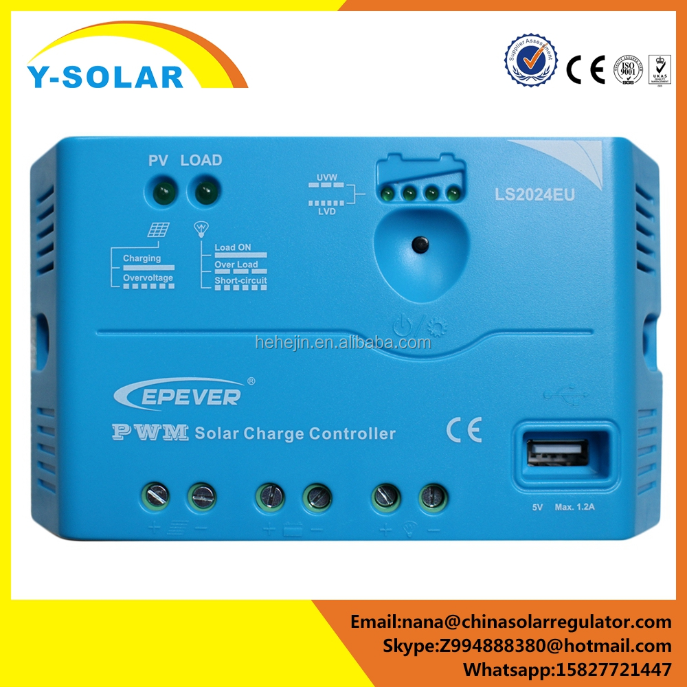 Y-SOLAR 12V/24V lumiax USB 5V charging solar power charge controller 20a for home
