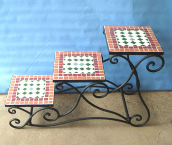 Antique mosaic decor,metal stands for flowers,decorative metal flowers