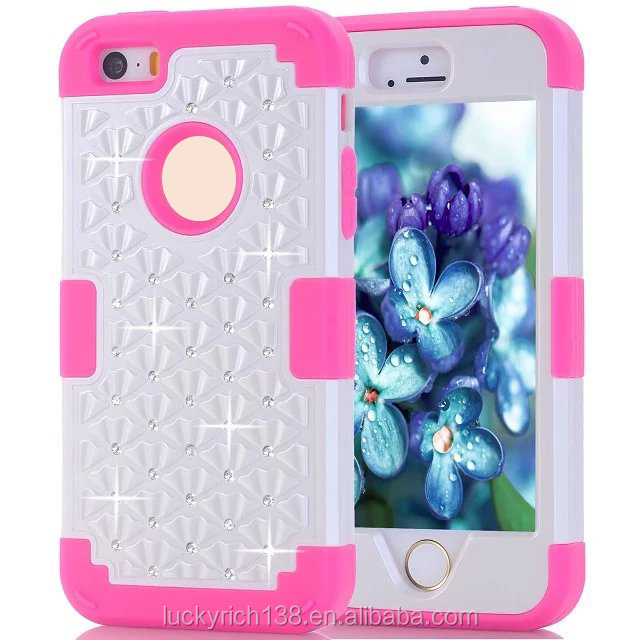 New design phone case for iphone 5,5s,5e, decorate with diamond colorful three piece phone case