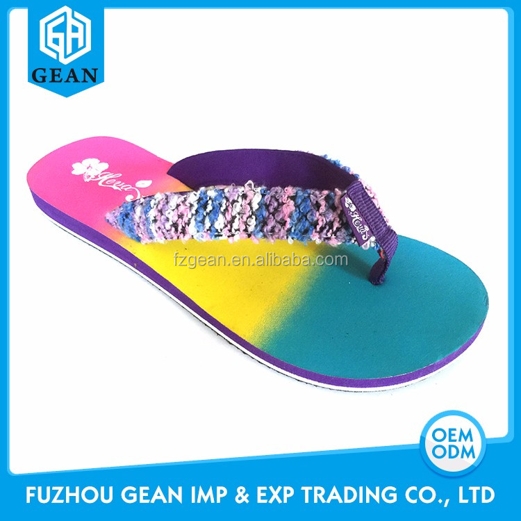 Colorful Rainbow Print Beautiful Young Grils' flip flops