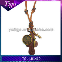 genuine leather chain with antique clock necklace