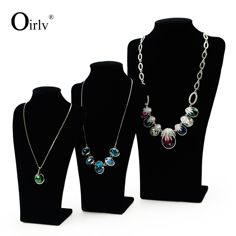 Oirlv Factory Custom Logo Black Velvet Jewellery Displays Bust for Jewelry Showroom Wooden Mannequin Display Necklace
